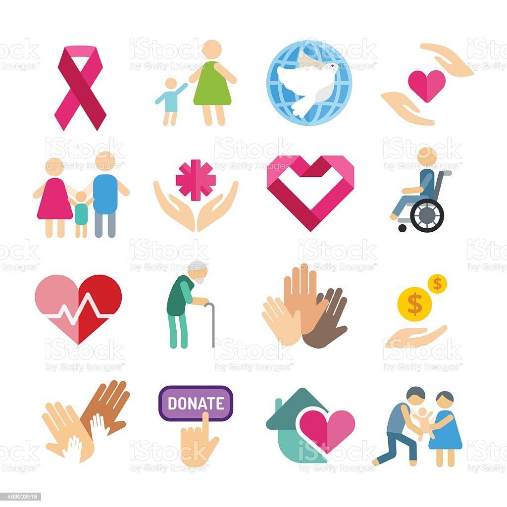 Charity care flat icons set vector art illustration
