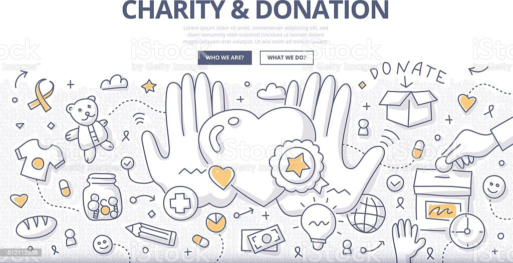 Charity & Donation Doodle Concept vector art illustration
