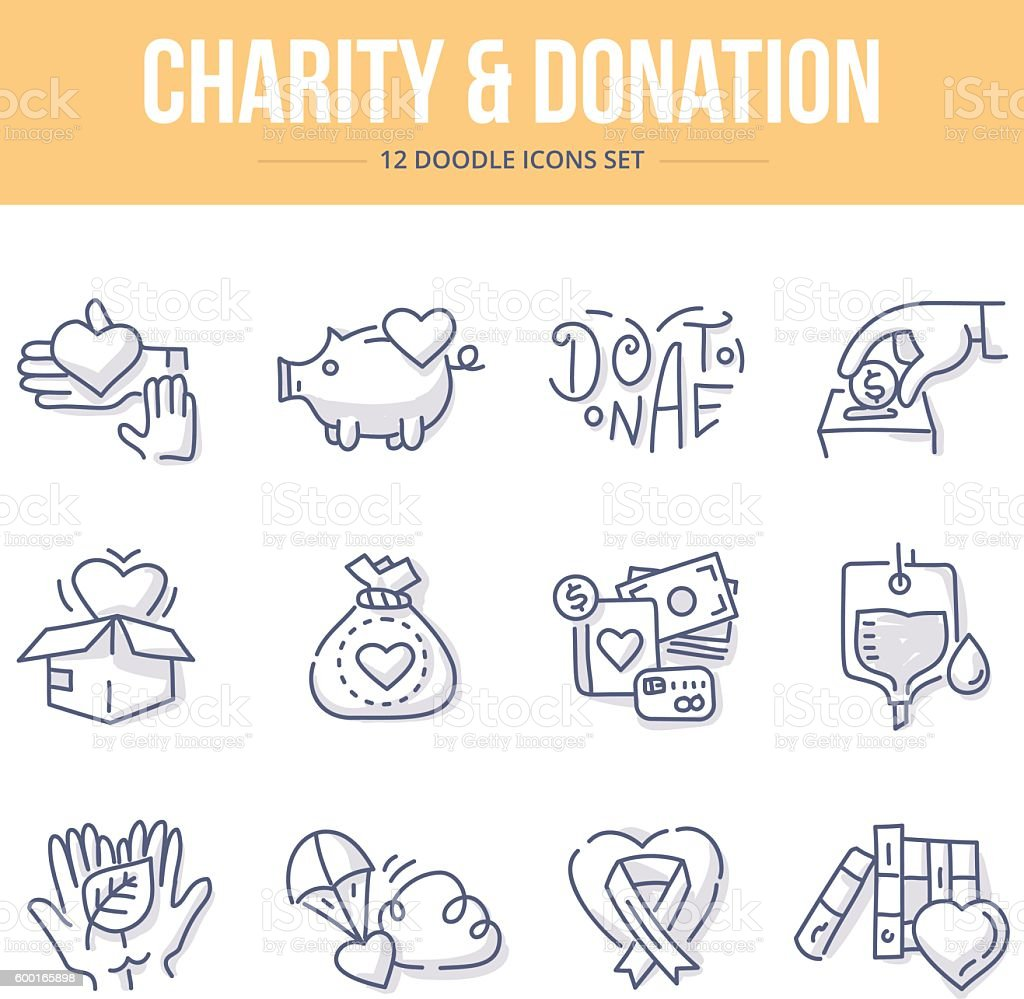Charity & Donation Doodle Icons vector art illustration