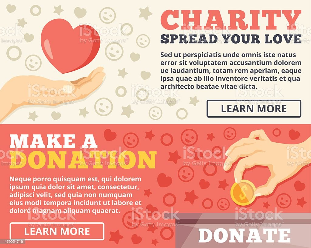 Charity, donation flat illustration concepts set vector art illustration