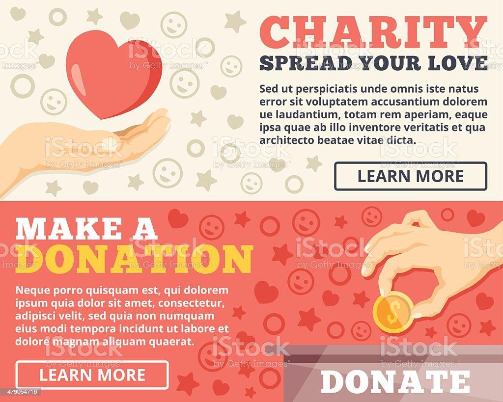 Charity, donation flat illustration concepts set vector art illustration