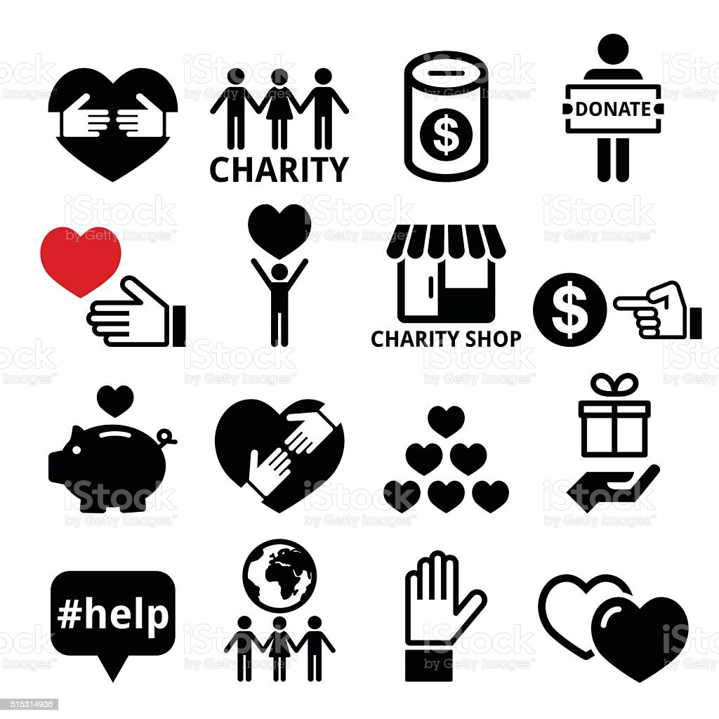 Charity, helping other people icons vector art illustration