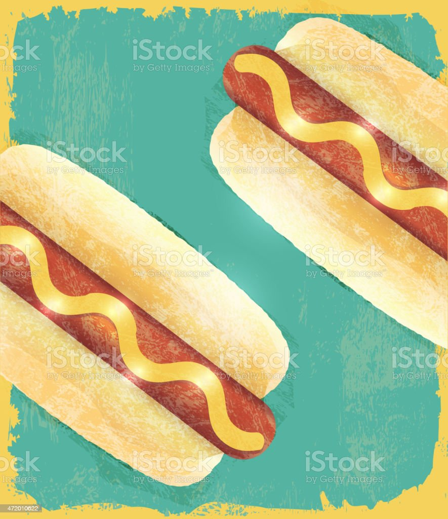 Charity Hotdog Fundraiser design template on wooden background vector art illustration