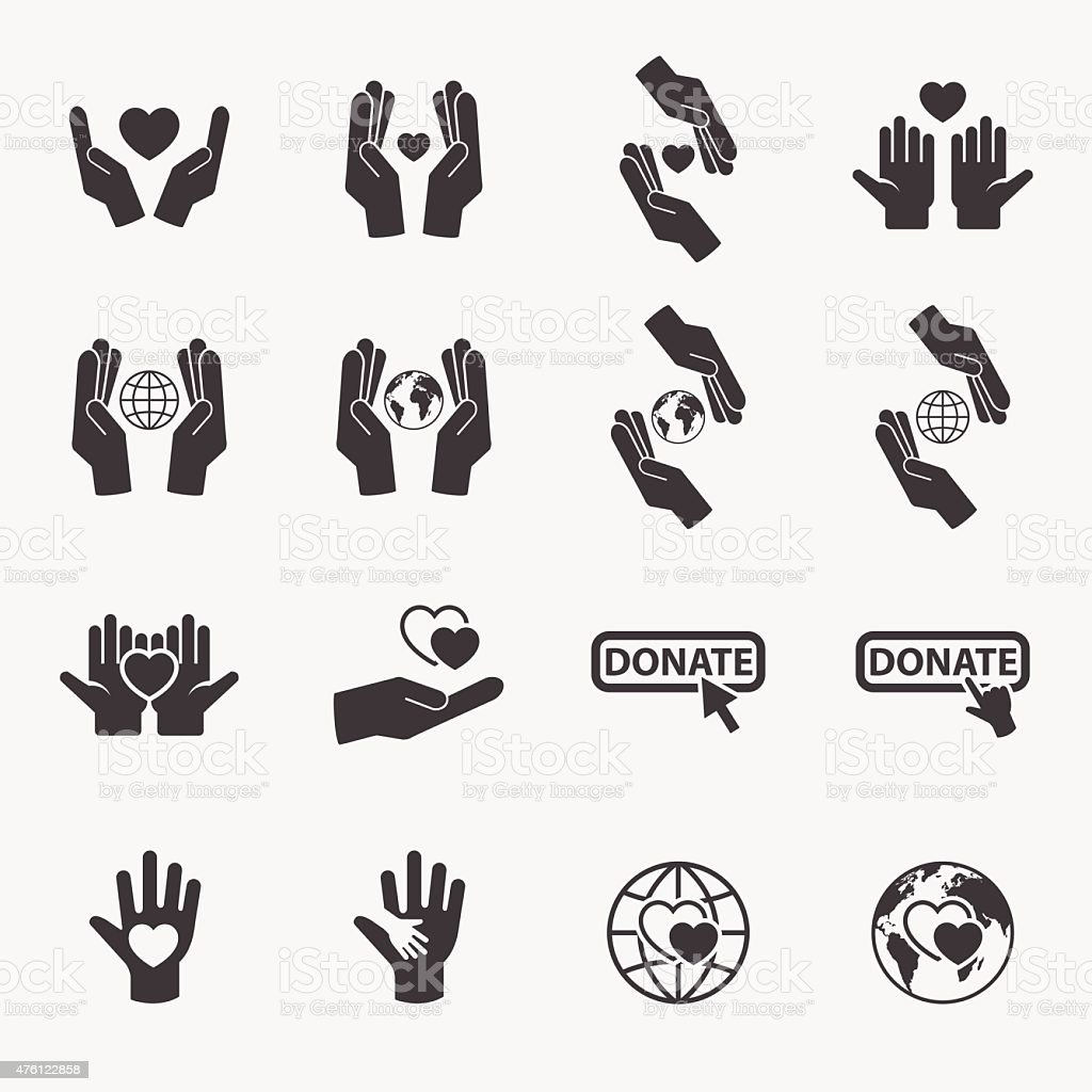 Charity icon set.vector. vector art illustration