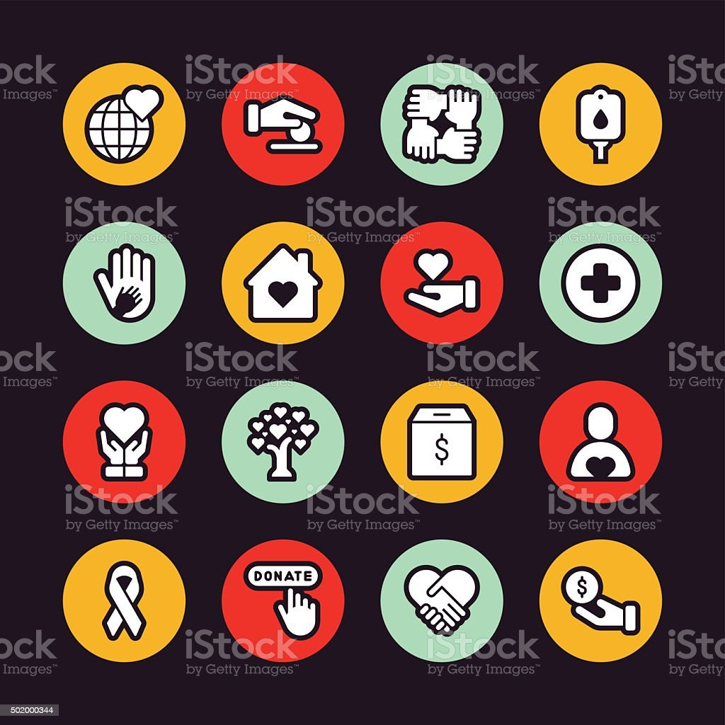 Charity icons - Regular Outline - Circle vector art illustration