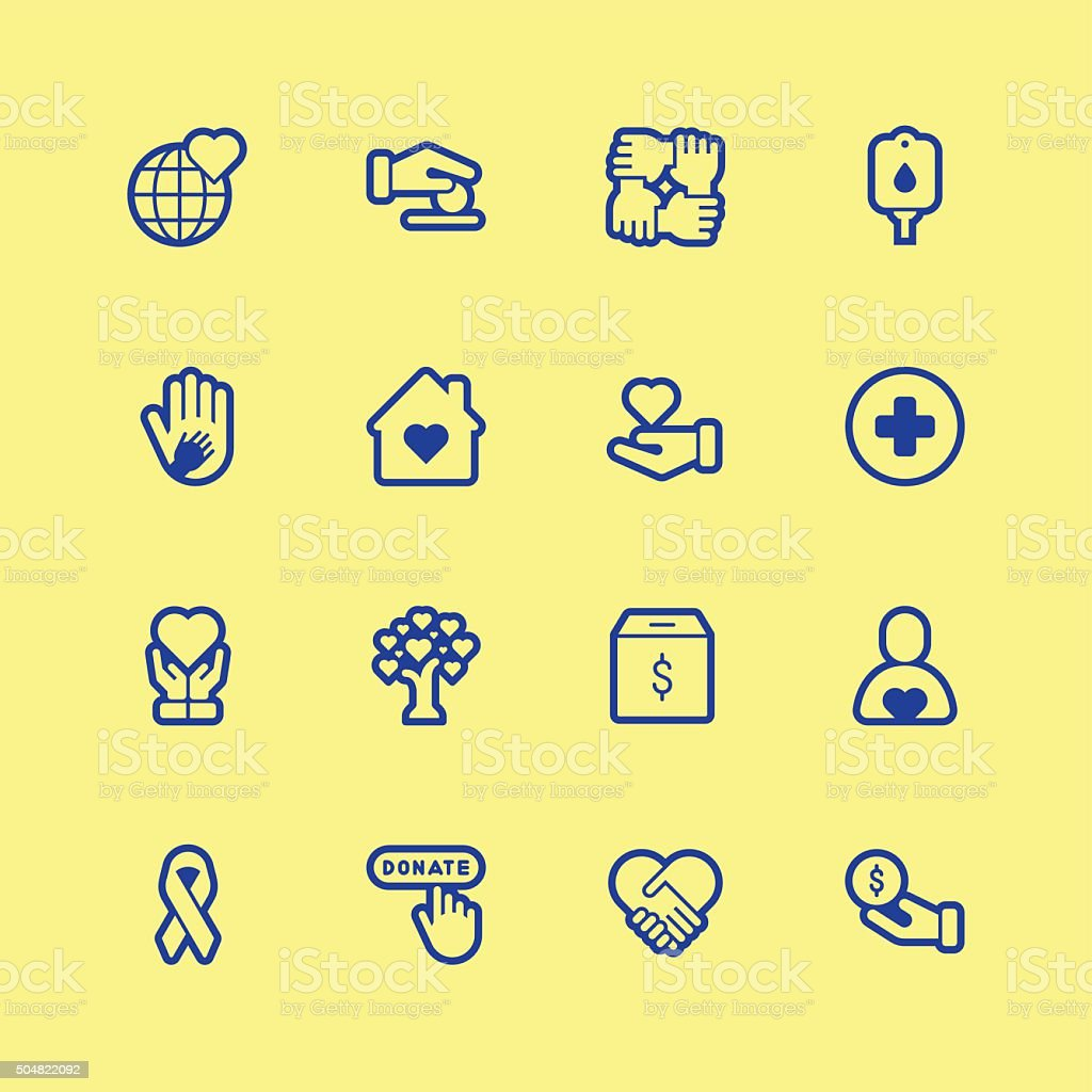 Charity icons - Regular Outline Color vector art illustration