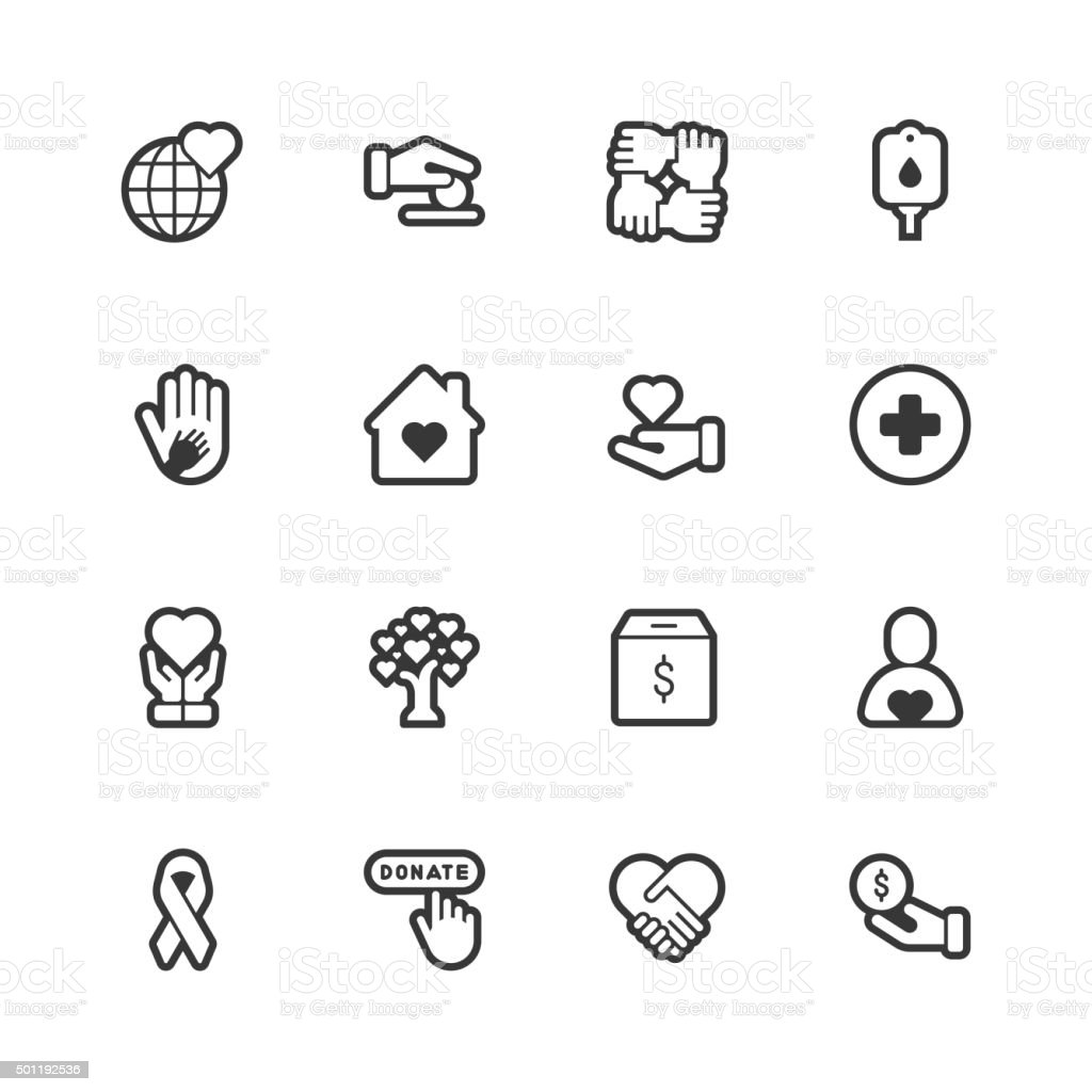 Charity icons - Regular Outline vector art illustration
