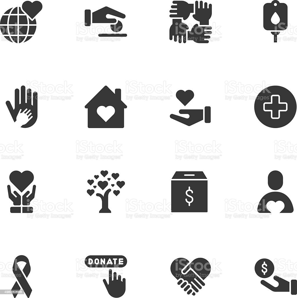 Charity icons - Regular vector art illustration