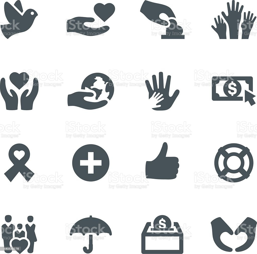 Charity Icons vector art illustration