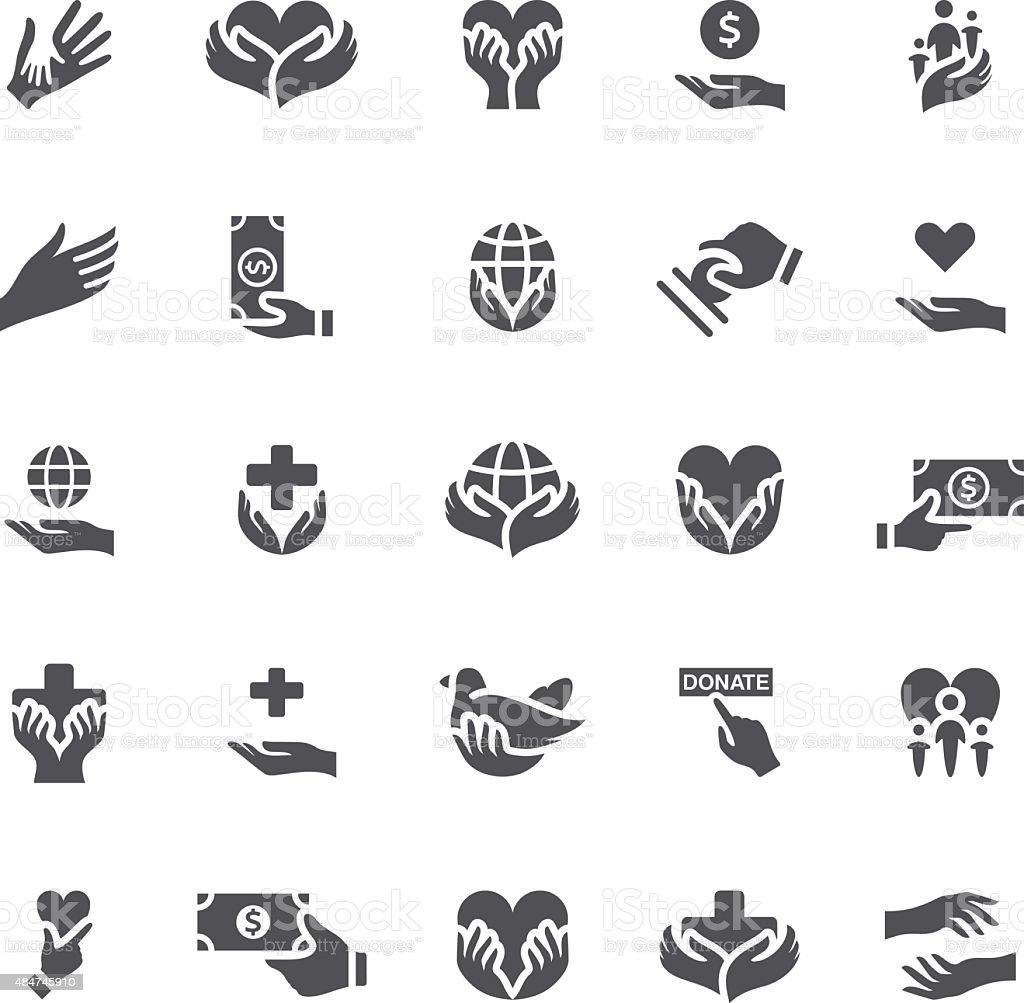 Charity Icons vector art illustration