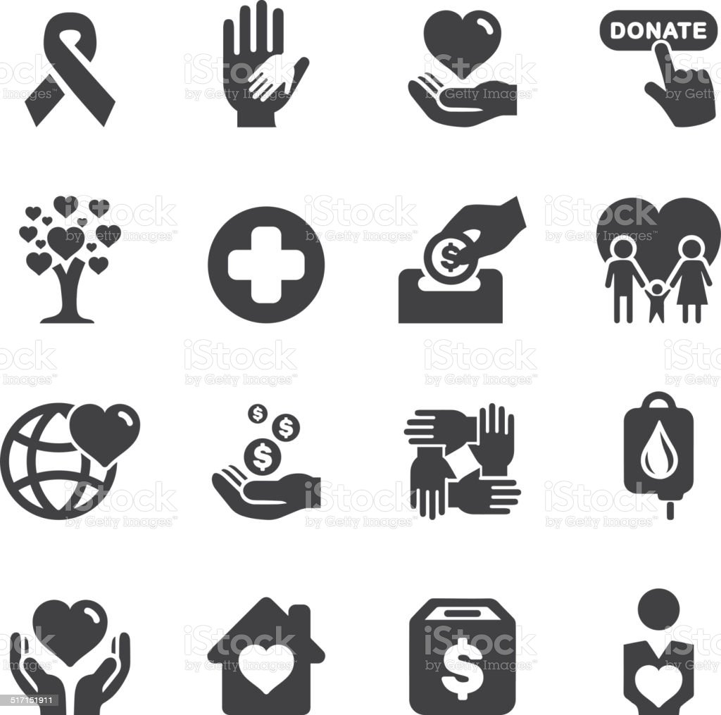 Charity Silhouette icons | EPS10 vector art illustration
