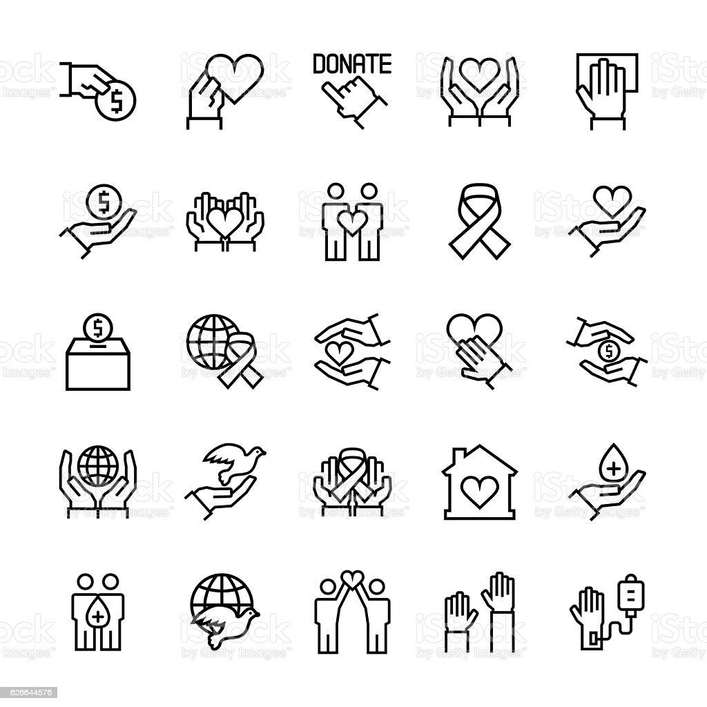 Charity, sponsorship,donation and donor icon set. vector art illustration