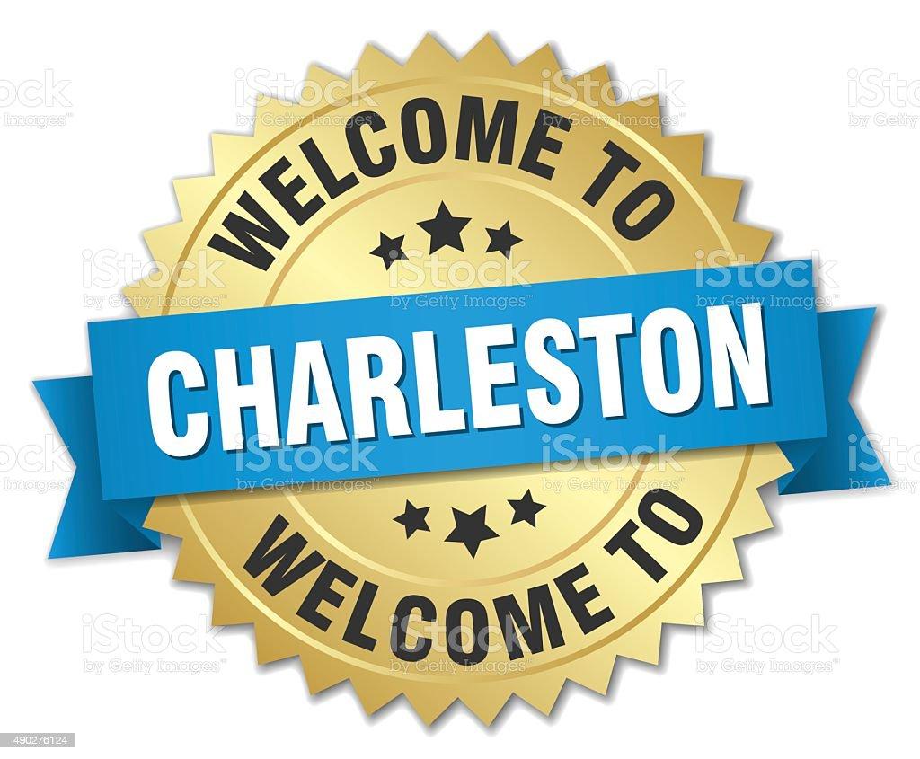 Charleston 3d gold badge with blue ribbon vector art illustration