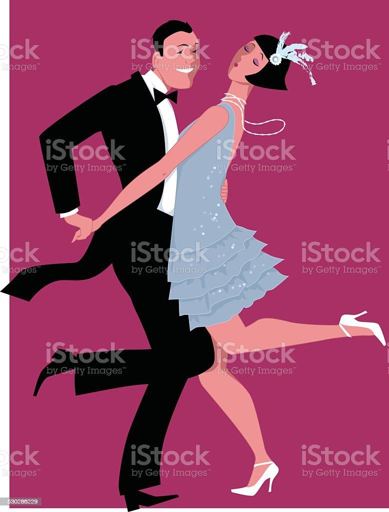 Charleston dancing vector art illustration