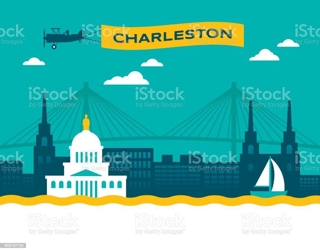 Charleston Skyline vector art illustration