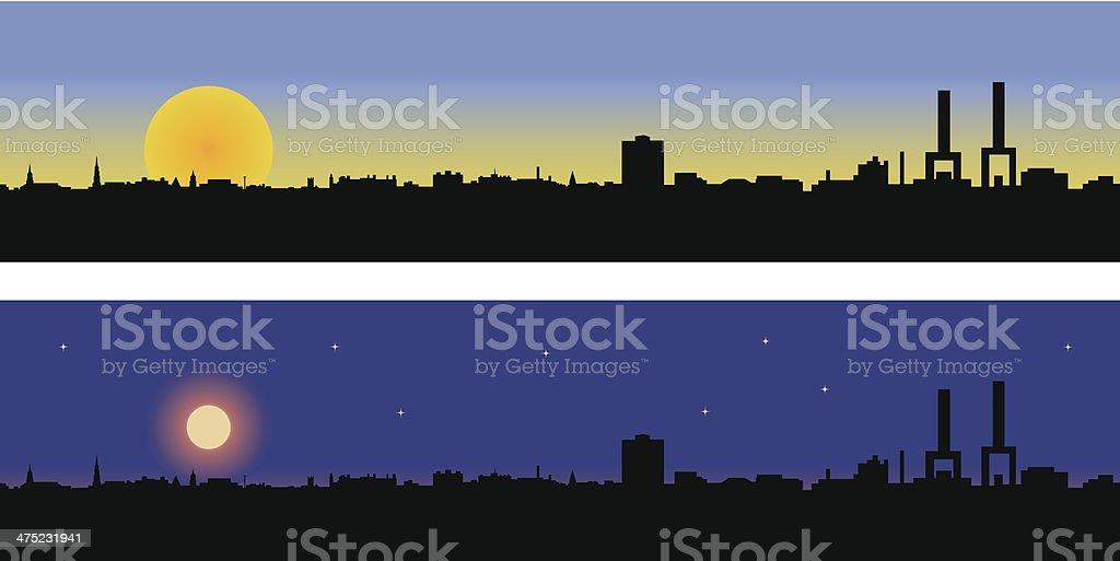 Charleston South Carolina (SC) - Day and Night vector art illustration