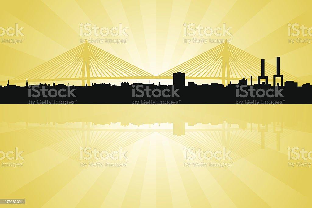 Charleston South Carolina Skyline with Arthur Ravenal Jr. Bridge vector art illustration