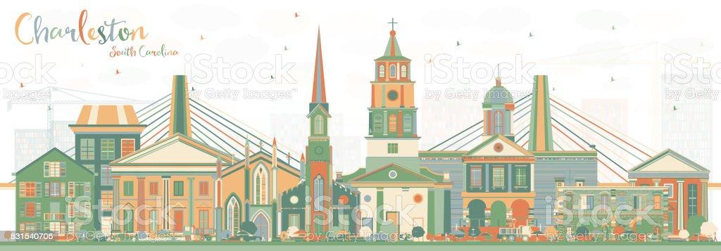 Charleston South Carolina Skyline with Color Buildings. vector art illustration