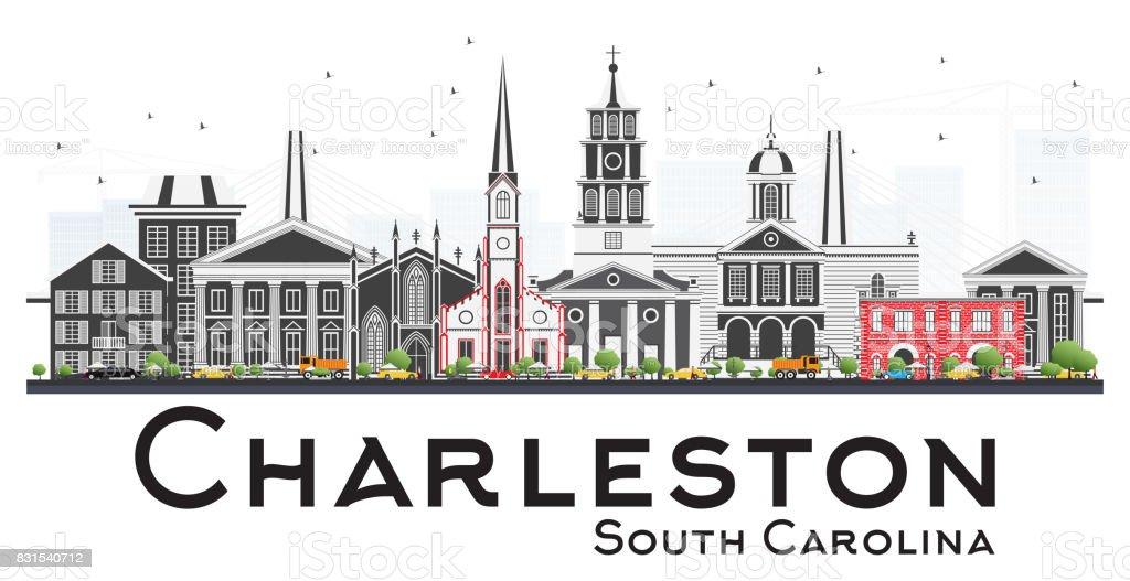 Charleston South Carolina Skyline with Gray Buildings Isolated on White Background. vector art illustration