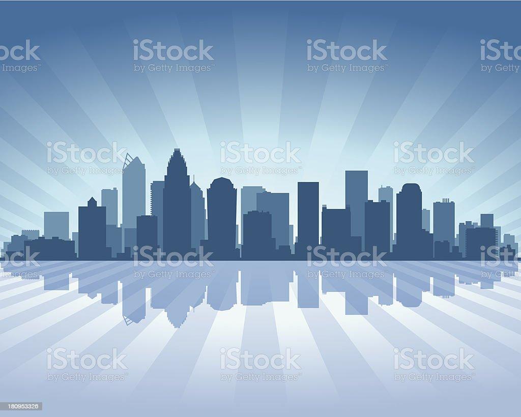 Charlotte Blue City skyline silhouette vector art illustration