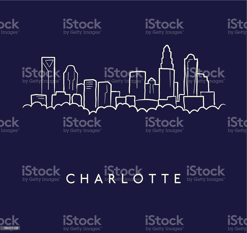 Charlotte Skyline Sketch vector art illustration
