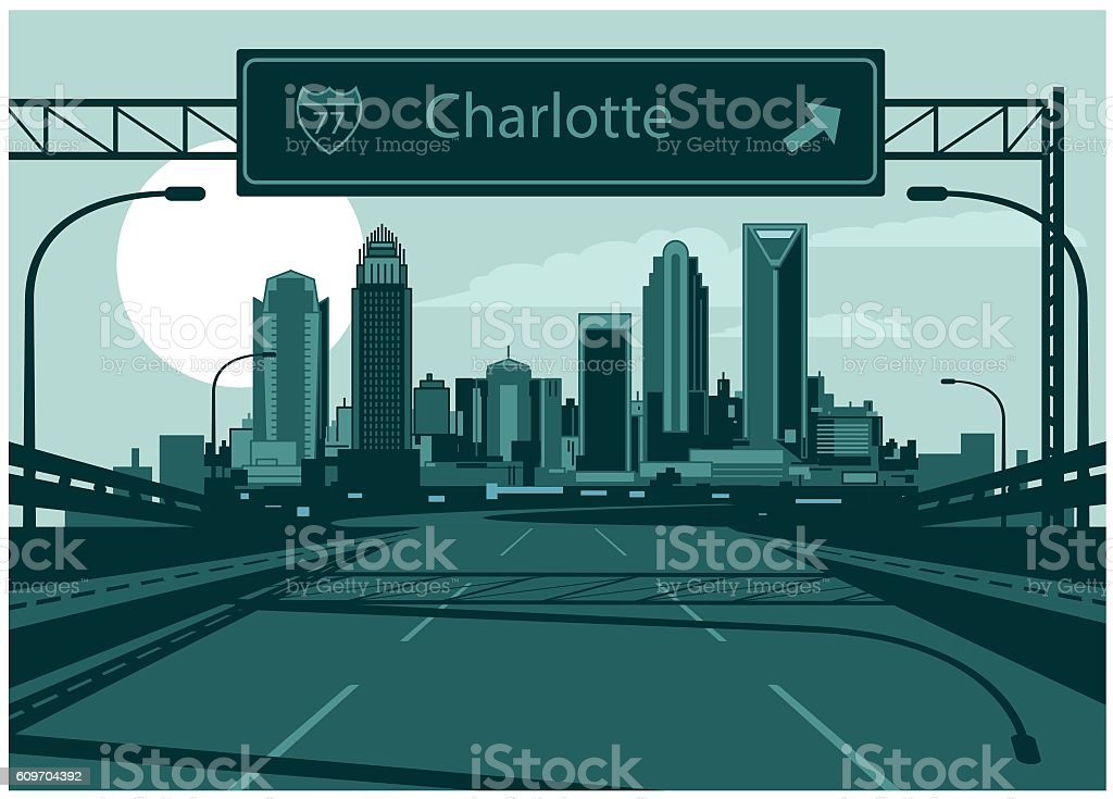 Charlotte skyline vector art illustration