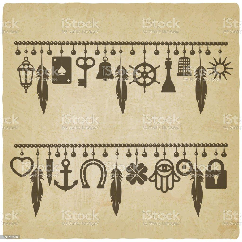 charm bracelets with symbols of good luck old background vector art illustration