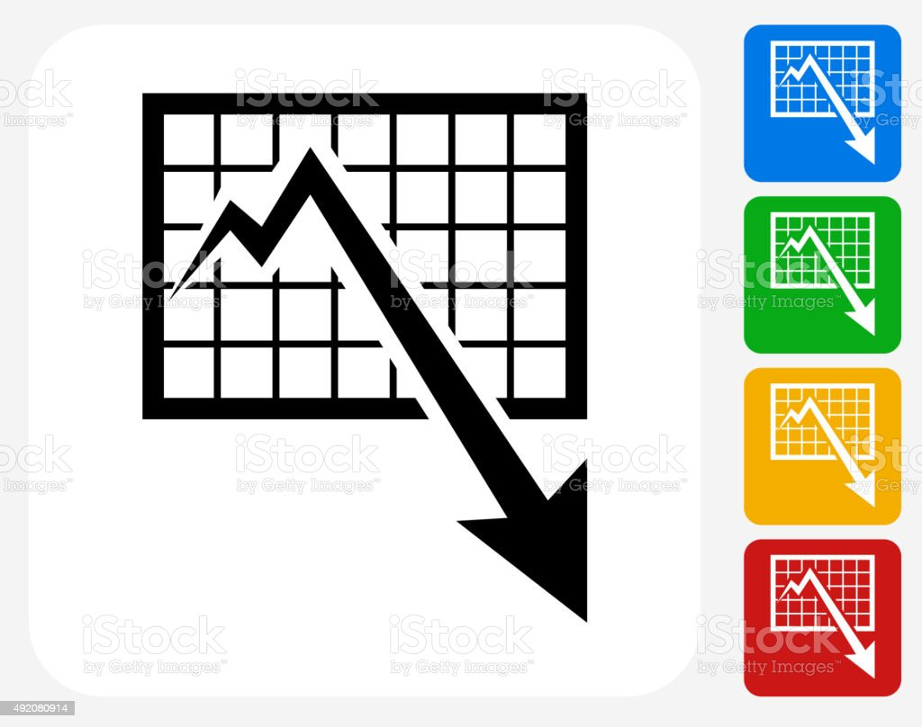 Chart and Decrease Arrow Icon Flat Graphic Design vector art illustration