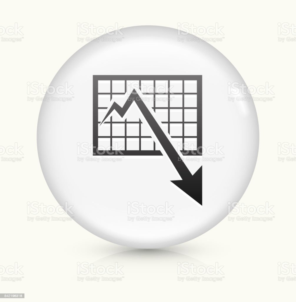 Chart and Decrease Arrow icon on white round vector button vector art illustration