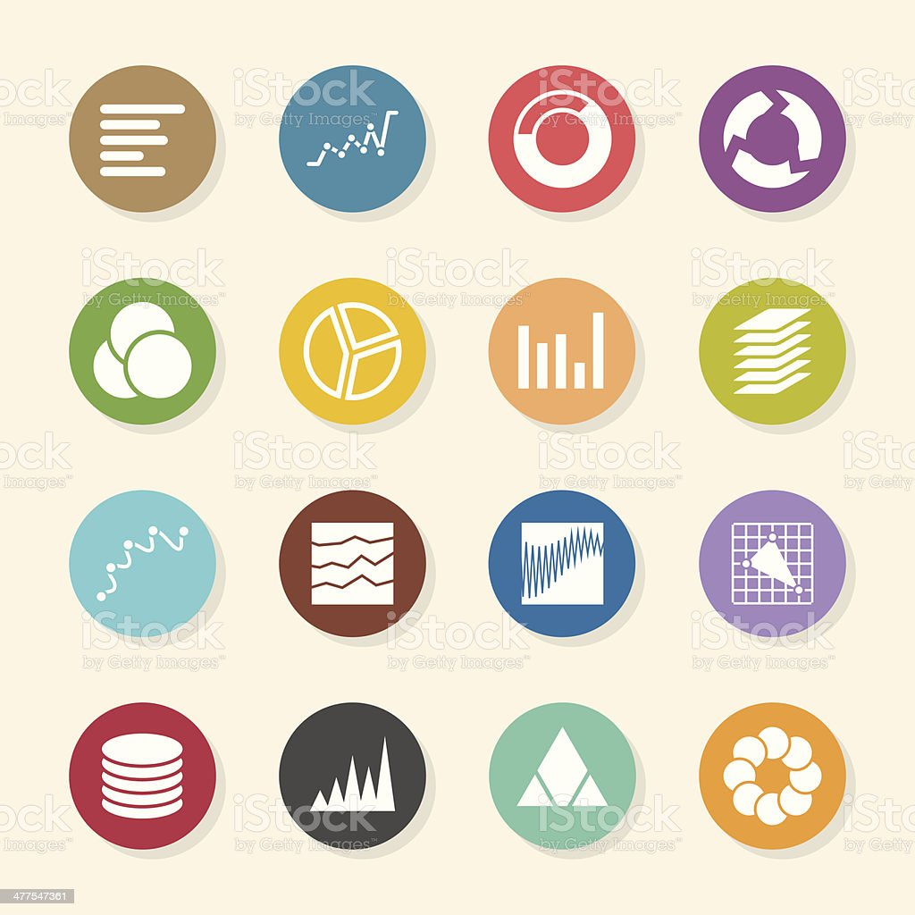 Chart and Graph Icons - Color Circle Series vector art illustration