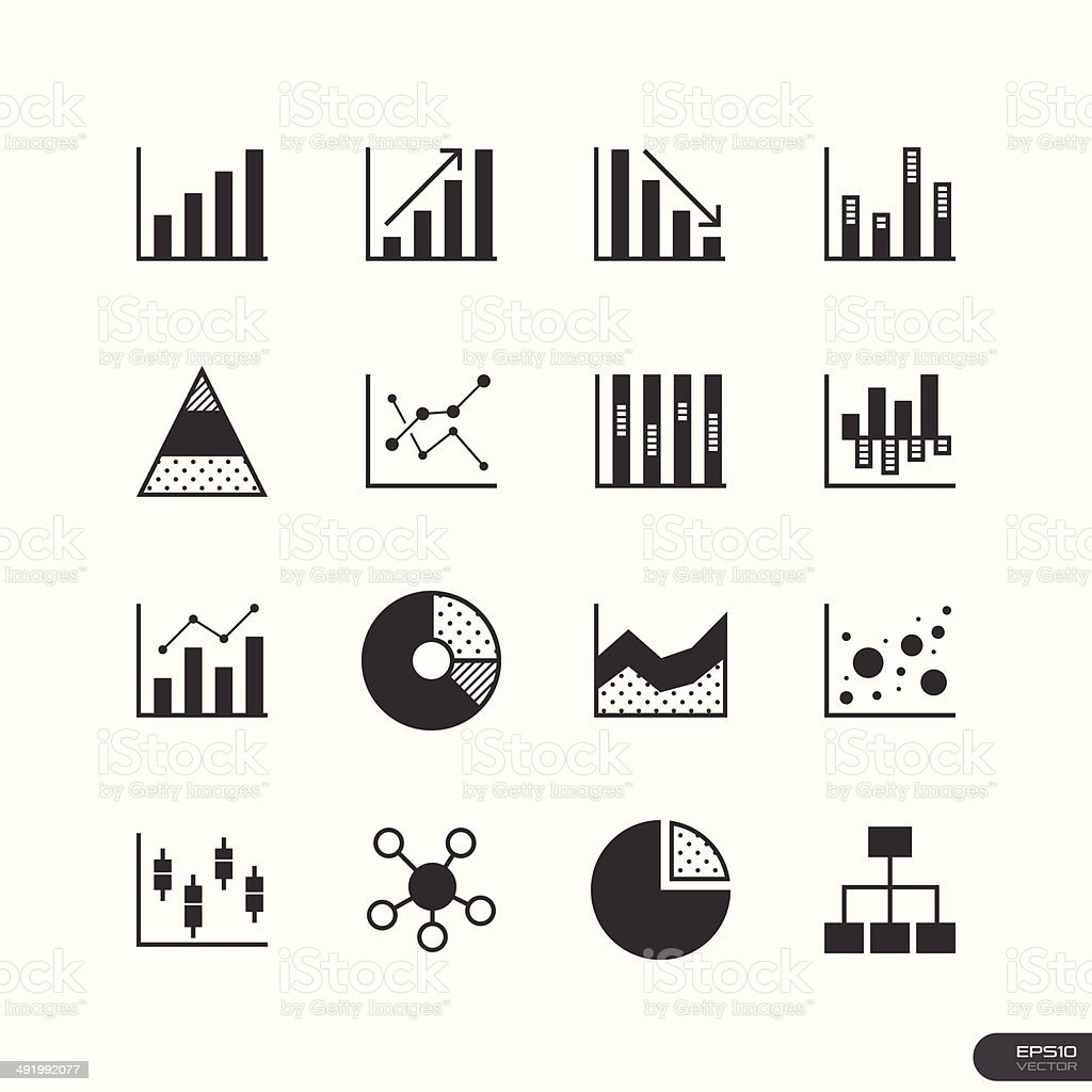 Chart and Graph Icons set - Illustration vector art illustration