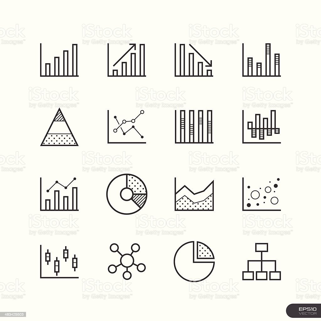 Chart and Graph Icons set vector art illustration