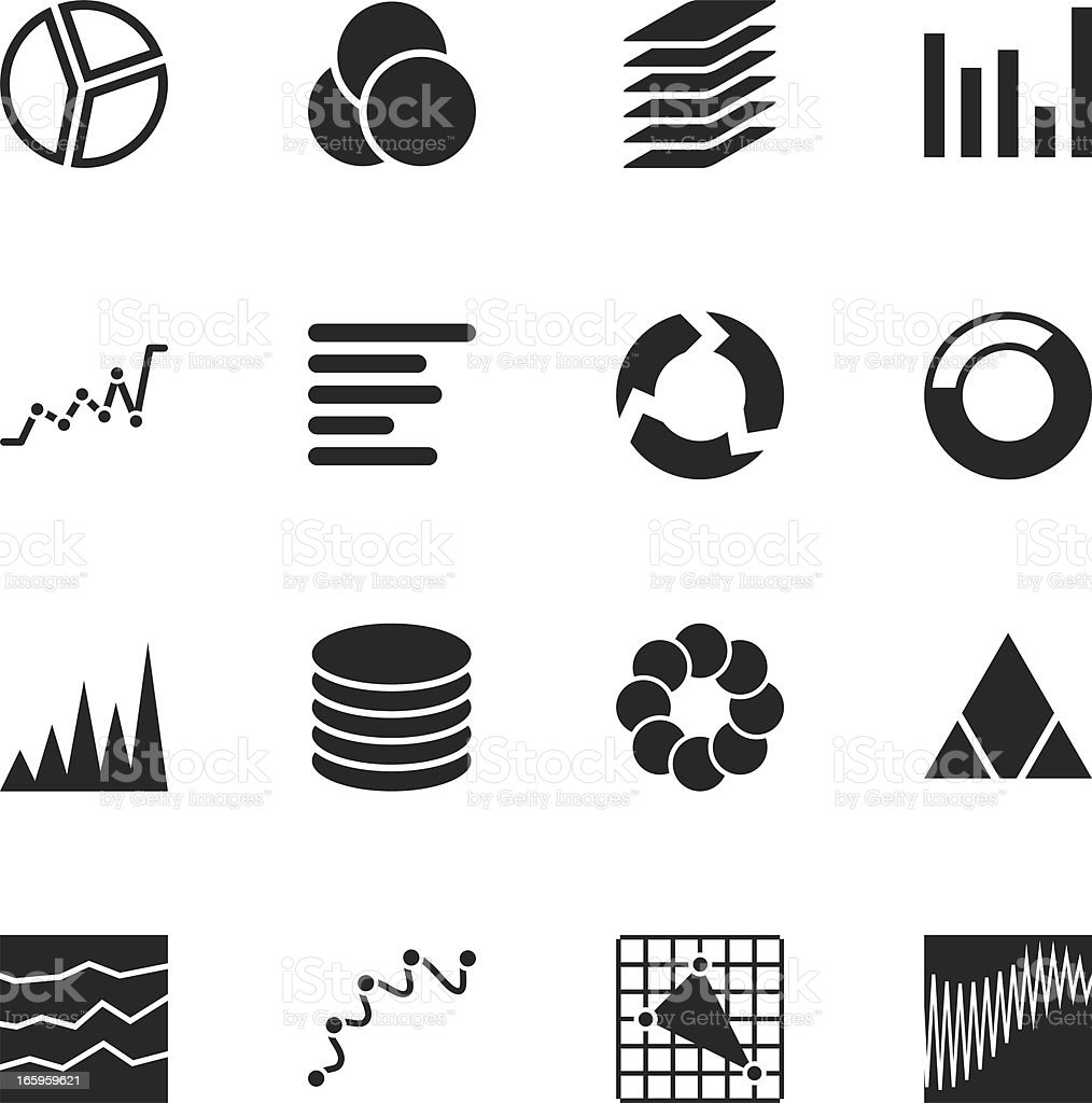 Chart and Graph Silhouette Icons royalty-free stock vector art