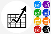 Chart and Progress Arrow Icon on Flat Color Circle Buttons