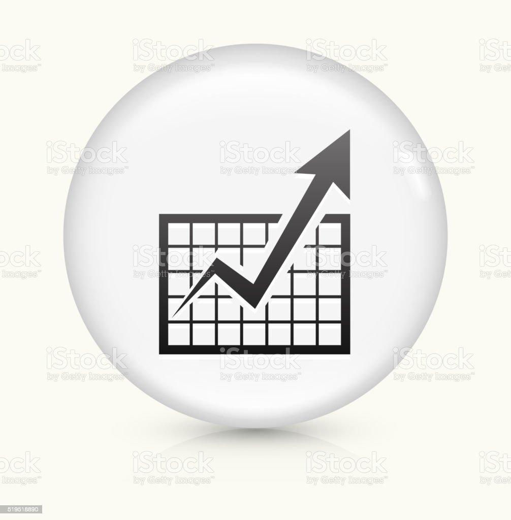 Chart and Progress Arrow icon on white round vector button vector art illustration