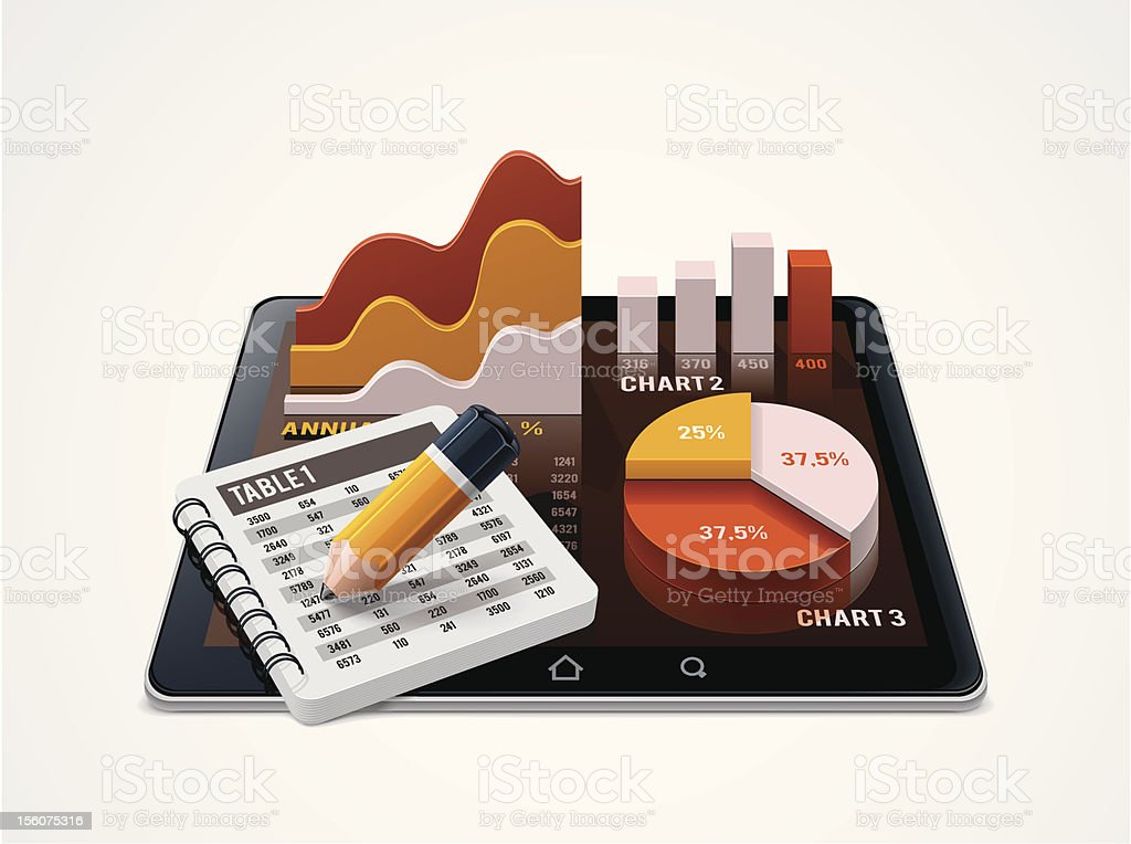 Chart and table editor icon vector art illustration