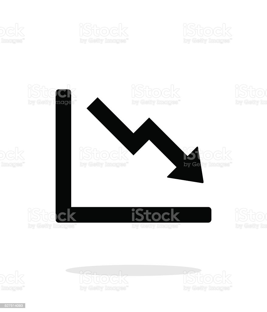 Chart down icon on white background. vector art illustration