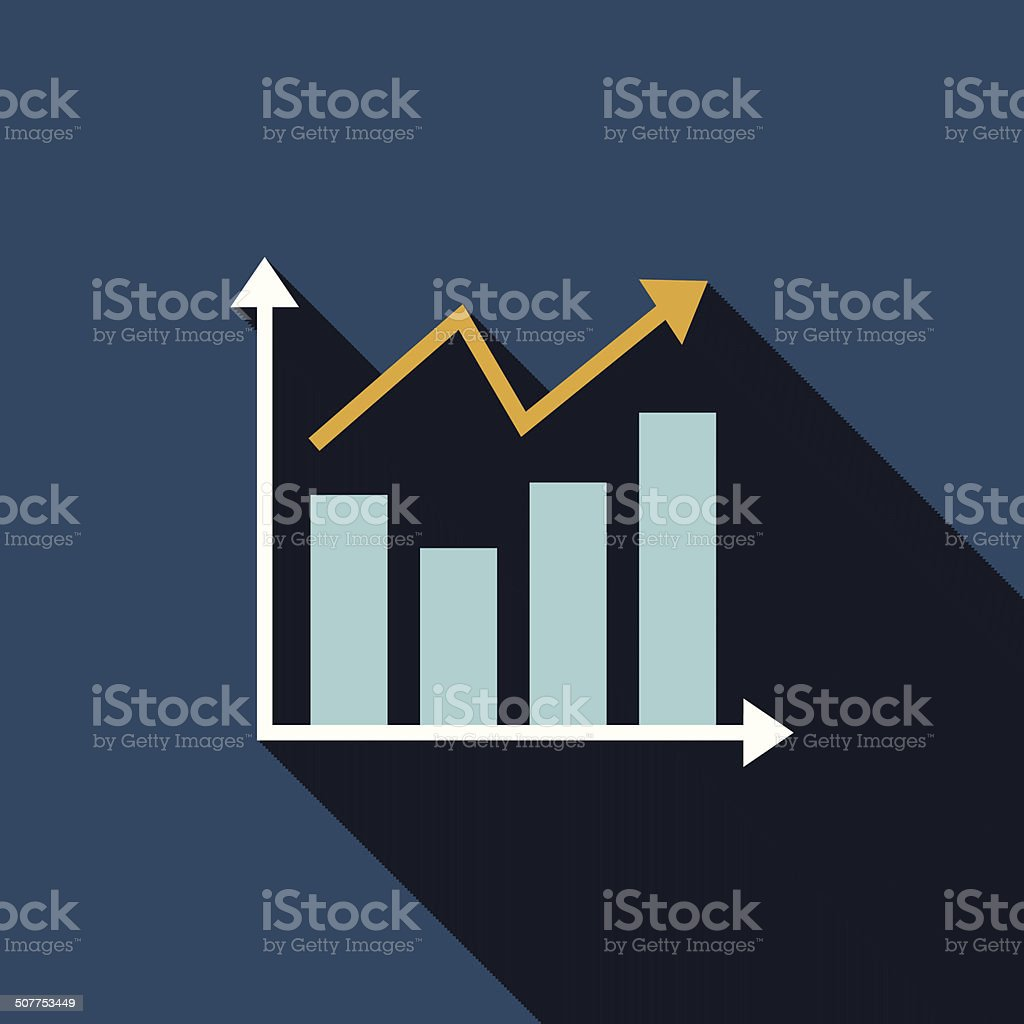 chart flat icon with long shadow vector art illustration
