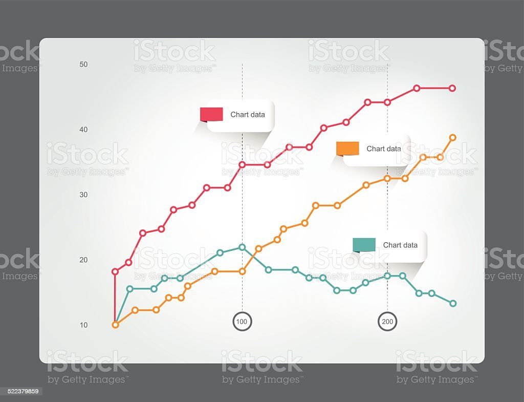 Chart for infographics. Lined graph. vector art illustration
