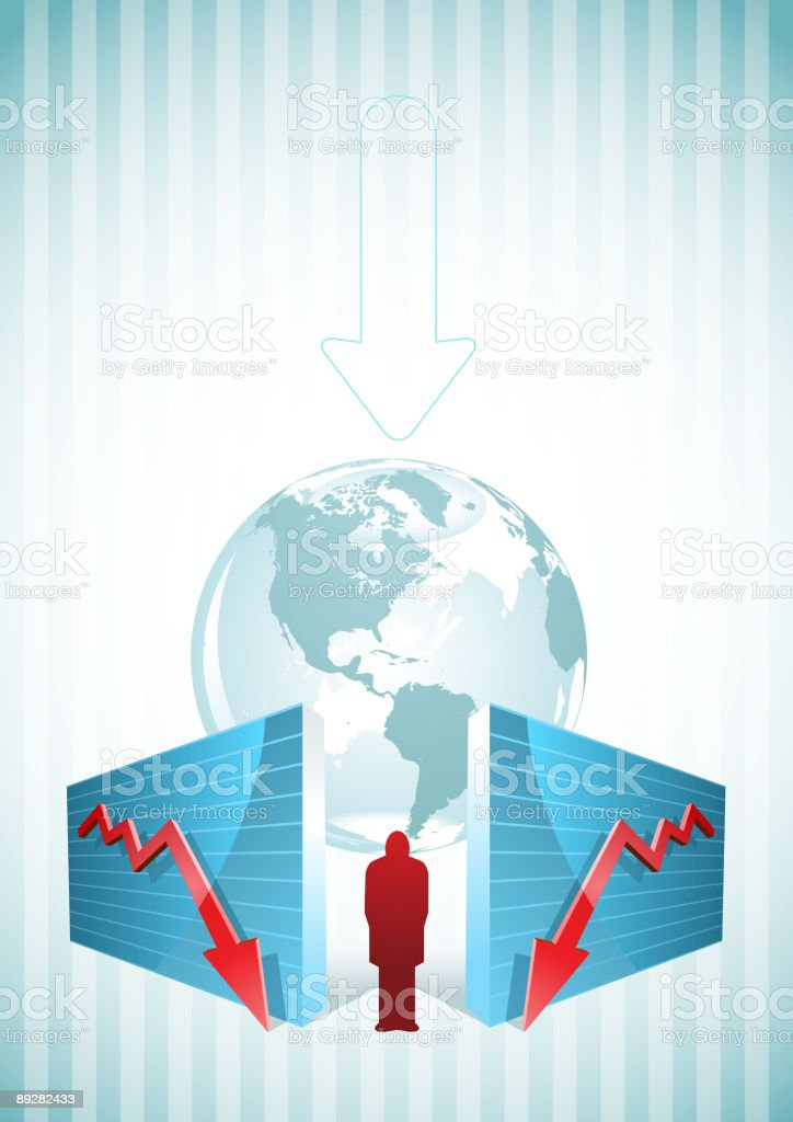 chart, globe and a man. royalty-free stock vector art
