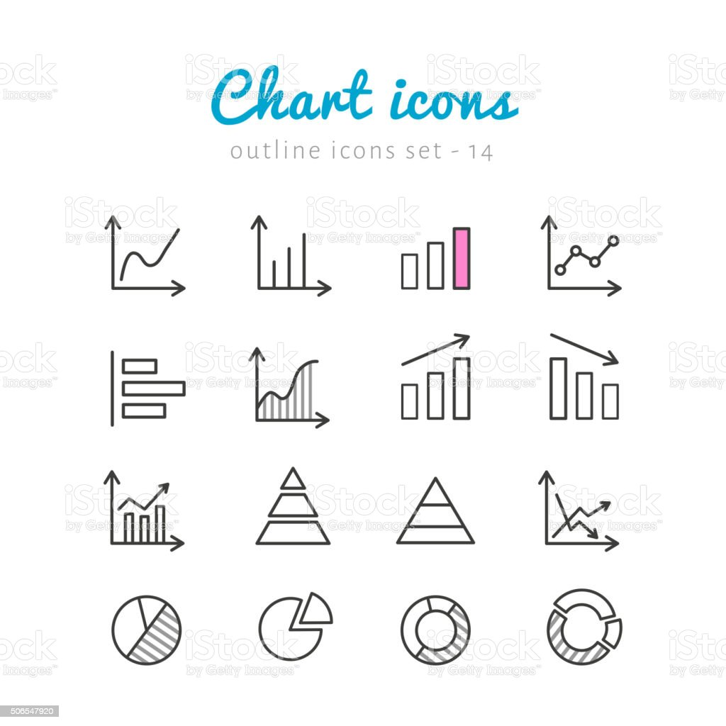 Chart icons set vector art illustration