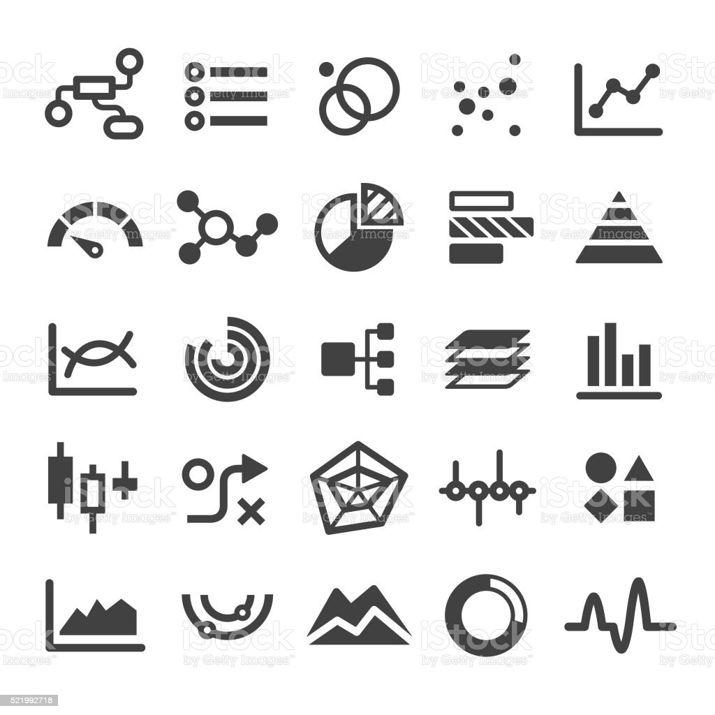 Chart Types Icons Set - Smart Series royalty-free stock vector art