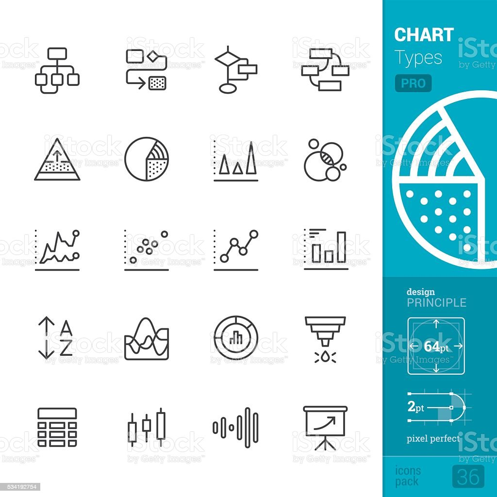 Chart Types Outline vector icons - PRO pack royalty-free stock vector art