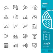 Chart Types Outline vector icons - PRO pack