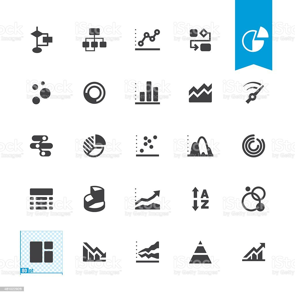 Chart types related vector icons vector art illustration