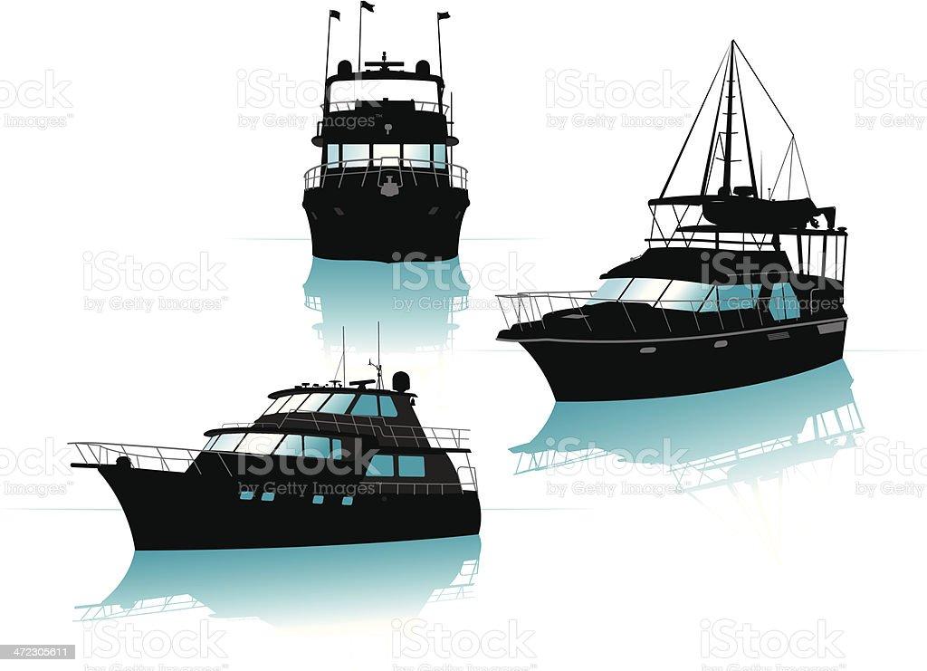 Charter Boats vector art illustration