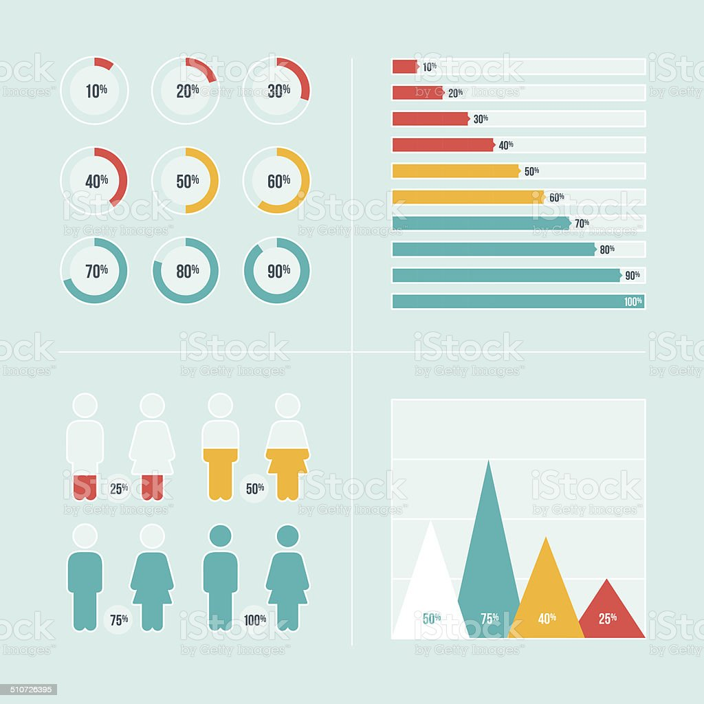 Charts and Graphs vector art illustration