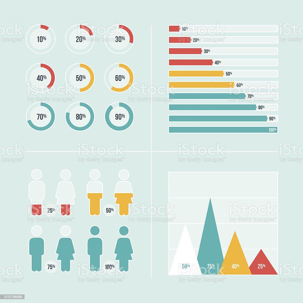 Charts and Graphs vector art illustration