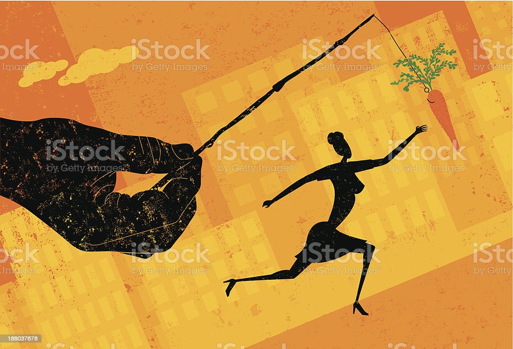 Chasing a carrot royalty-free stock vector art