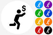 Chasing Money Icon on Flat Color Circle Buttons